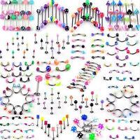 110Pcs Wholesale Body Piercing Jewelry Lip Eyebrow Navel Belly Tongue Bar Rings