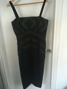 Vintage-Barry-Sherrard-black-wool-evening-dress-with-beaded-top-chest-38-waist