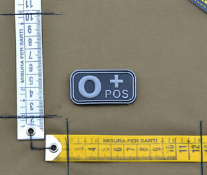 PVC-Rubber-Patch-034-Small-Blood-Type-0-POS-Black-034-with-VELCRO-brand-hook