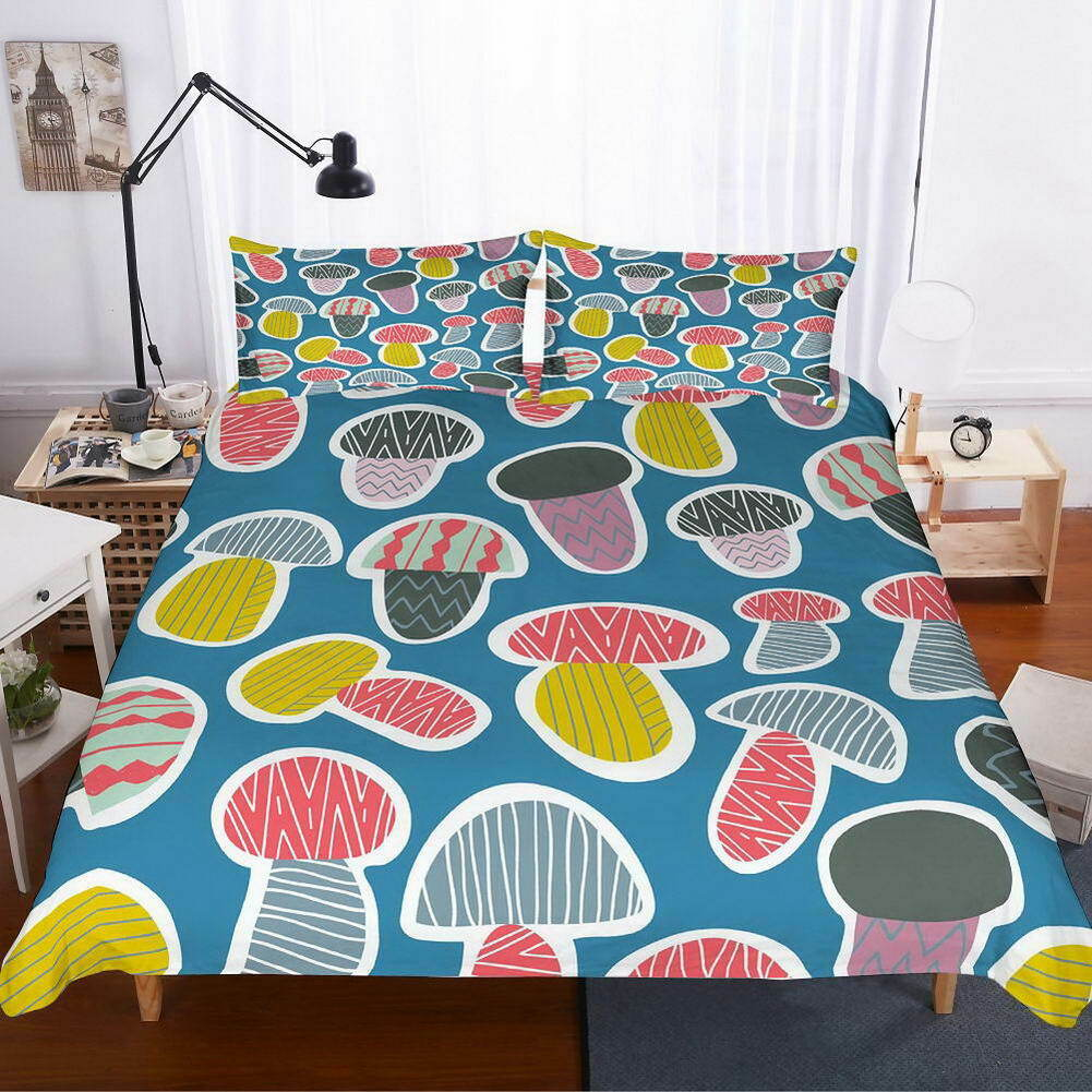 Farbe Mushrooms 3D Quilt Duvet Doona Cover Set Single Double Queen King Print