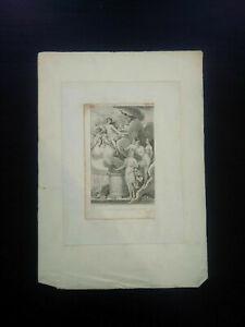 Curiosa belle gravure XVIIIème nus Baquoy & Monnet Vénus & les Grâces Colardeau