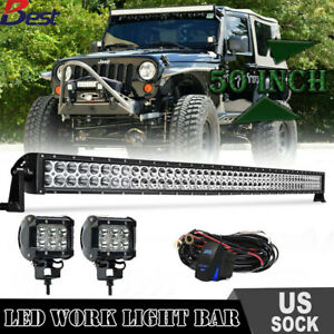 "50INCH 288W LED Work Light Bar Flood Spot Offroad 4WD Fog Jeep Truck SLIM PK 52/"""