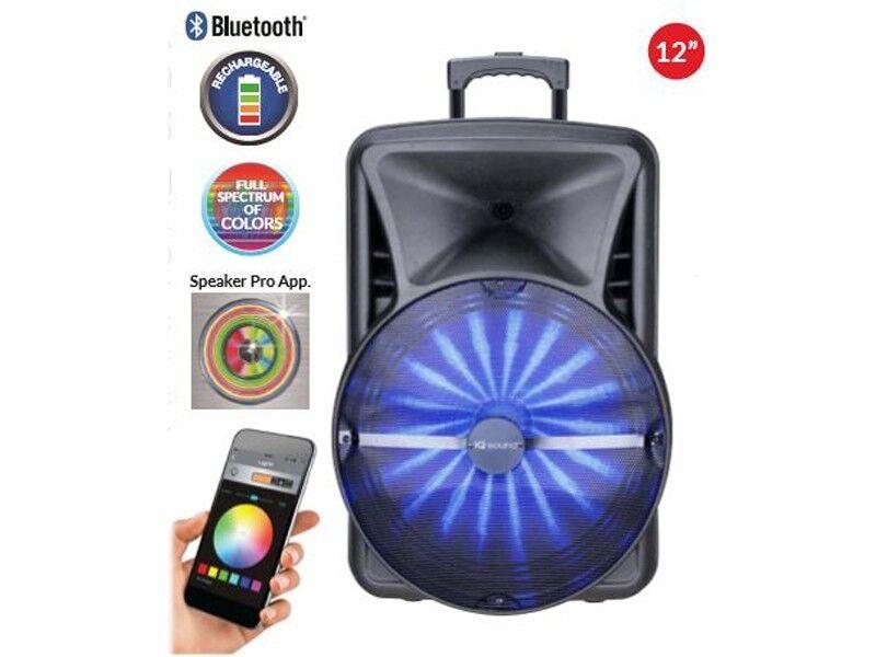IQ Sound IQ-9012DJBTA 12  App-Control PA Speaker +blueetooth +USB SD FM LED +Mic