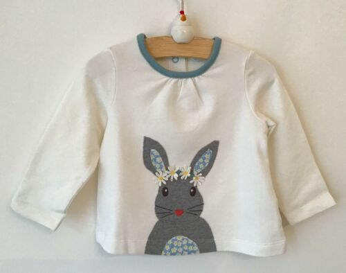 Ex baby Boden girls bunny rabbit appliqué long sleeved top 0-3 3-6 6-12 12-18 18