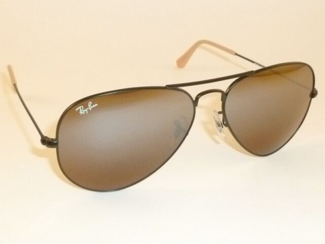 d02bcd8ec6c New RAY BAN Aviator Sunglasses Black Frame RB 3025 006 3K Brown Mirror Lens  55mm