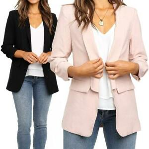 Casual-Lapel-Pocket-Solid-Color-Office-Women-Lady-Blazer-Long-Sleeve-Suit-Jacket