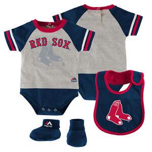 Boston Red Sox Infant Newborn Baby Boy Creeper, Bib, Booties Set FREE SHIPPING