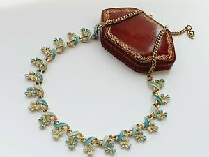 "Vintage 16.5""  Silver Tone Pale Blue Enamel Leaves Flowers Necklace"