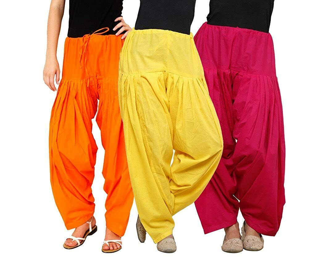 Women's 100% Pure Cotton Patiala Salwar Orange, Yellow And Pink, Pack Of 3 Pcs