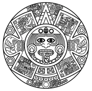 Royal Mexico Mexican Warrior Sun Latin Chicano Aztec Crest Rubber Stamp Card God