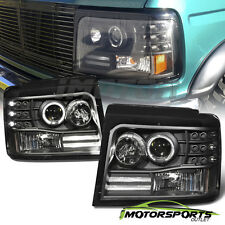 [LED Halo] 1992-1996 Ford Bronco/F150/F250/F350 Projector Black Headlights Pair