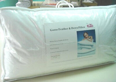 """Pack of 2 Emperor Size Goose Feather & Down Pillows 20"""" x 42"""" - 85% WGF 15% WGD"""