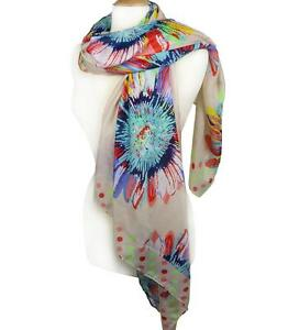 NEW-Soft-Multicolor-Floral-Polka-Dots-Print-Light-Beige-Wrap-Scarf