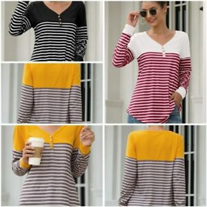 Blouse-Top-Striped-Pullover-Womens-Loose-Casual-Shirt-Long-Sleeve-T-Shirt-V-Neck