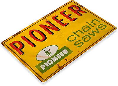 TIN SIGN B885 IEL Pioneer Chain Saws Power Tools Garage Lumber Jack Metal Decor