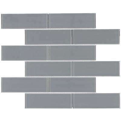 Contemporary Brick Brown Grey Glass Metal Mosaic Tile Backsplash Wall MTO0290