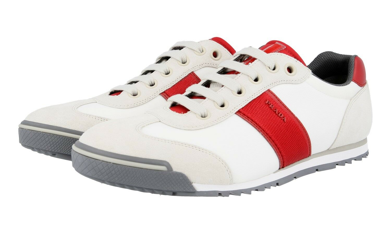 AUTHENTIC LUXURY PRADA SNEAKERS SHOES 4E3110 WHITE RED NEW   11 EU 44 44,5