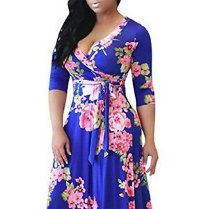 Women-Plus-Size-Blue-Wrap-Dress-XL-Maxi-Swing-Dress-Flower-Print