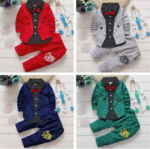 7ddc635281b0 2pcs Kids Baby Boys Gentleman Long Sleeve Bow Tie Suit Coat Tops + ...