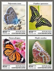 Central Africa - 2020 Butterflies on Stamps - 4 Stamp Set - CA200112c