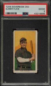 Rare 1909-11 T206 HOF Elmer Flick Sovereign 350 Cleveland PSA 2 Good Low Pop