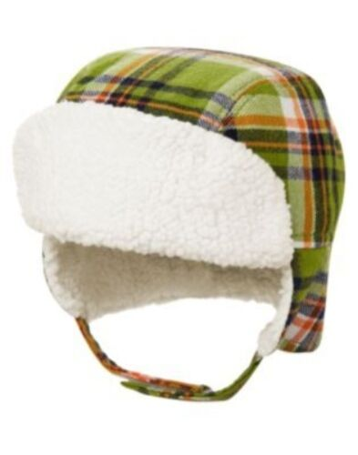 GYMBOREE DINO DUDE GREEN PLAID FUR TRIM TRAPPER LINED HAT 0 3 6 12 18 NWT