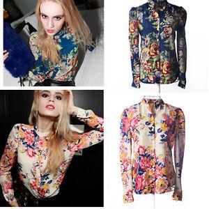 Lady-Vintage-Floral-Print-Chiffon-Lapel-T-Shirt-Long-Sleeve-Casual-Blouse-Tops