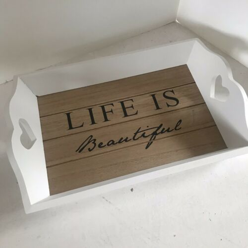 "Shabby White Wooden Vintage Style Tray  /""Life is beautiful/"""
