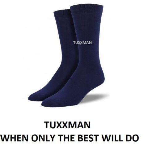 Mens Navy Blue Dress Socks Formal Wedding Party Tux Groomsmen No Fade TUXXMAN