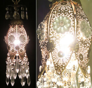 Jeweled Tulip lily filigree Swag lamp Vintage Silver glass Flower brass fixture