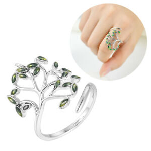 Women-Silver-Plated-Jewelry-Olive-Green-Leaf-Open-Finger-Ring-Adjustable-Hot