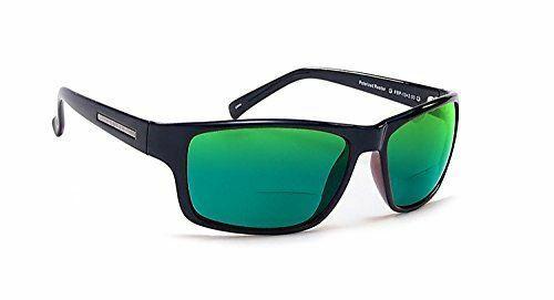 Coyote BP-13 Polarizado Bifocal Lectura Sol en Negro Con / Verde Espejo + 1.50
