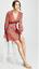 395-Saloni-NEW-Smocked-Elastic-Cuffs-Eve-Mini-V-Neck-Dress-Scarlet-UK14-US10 thumbnail 2