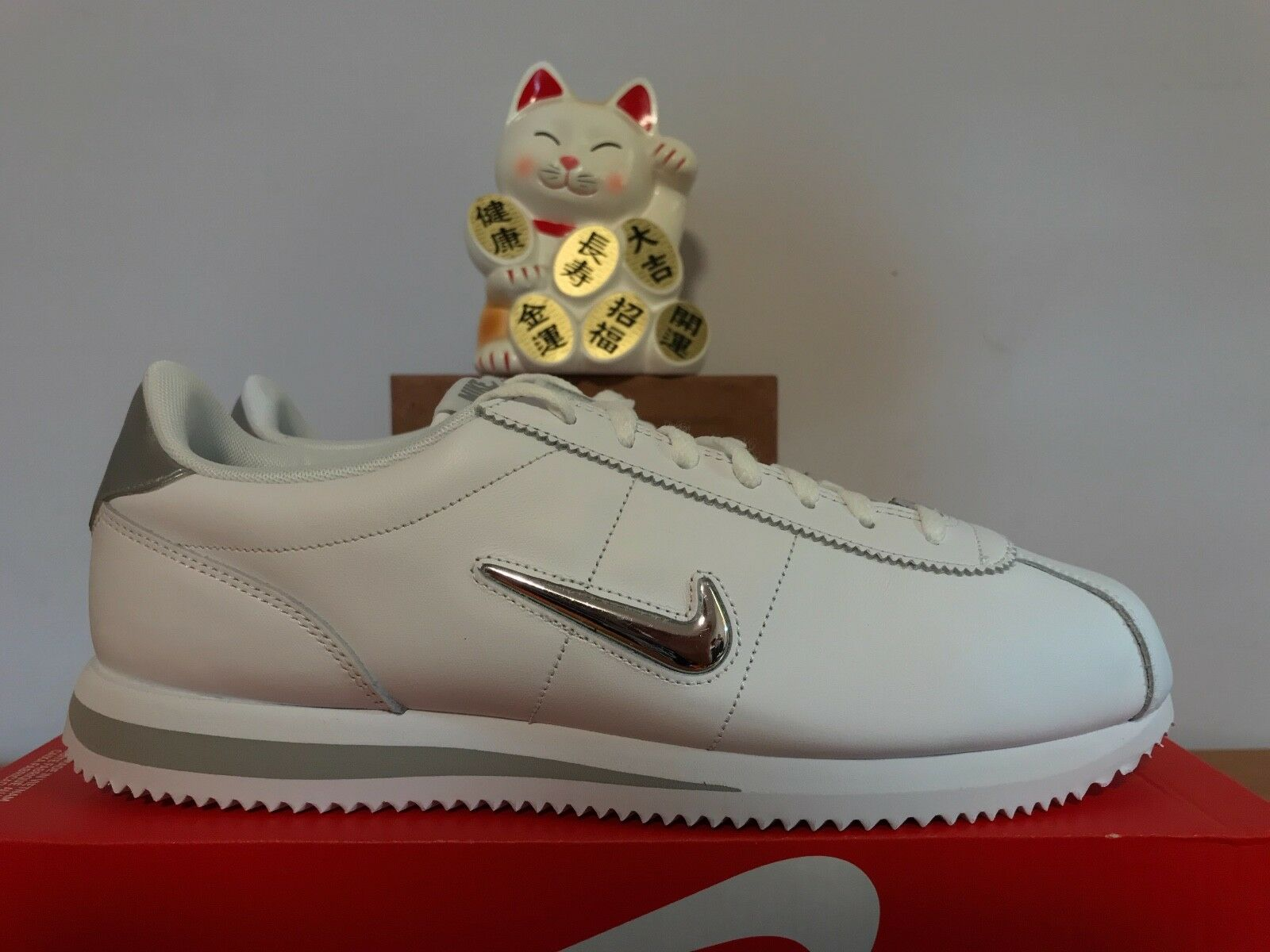 Nike Cortez Basic Jewel White Metallic Silver New 11.5 [833238-101]