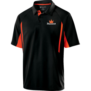 Brunswick-Mens-Inferno-Performance-Polo-Bowling-Shirt-Black-Orange-Dri-Fit