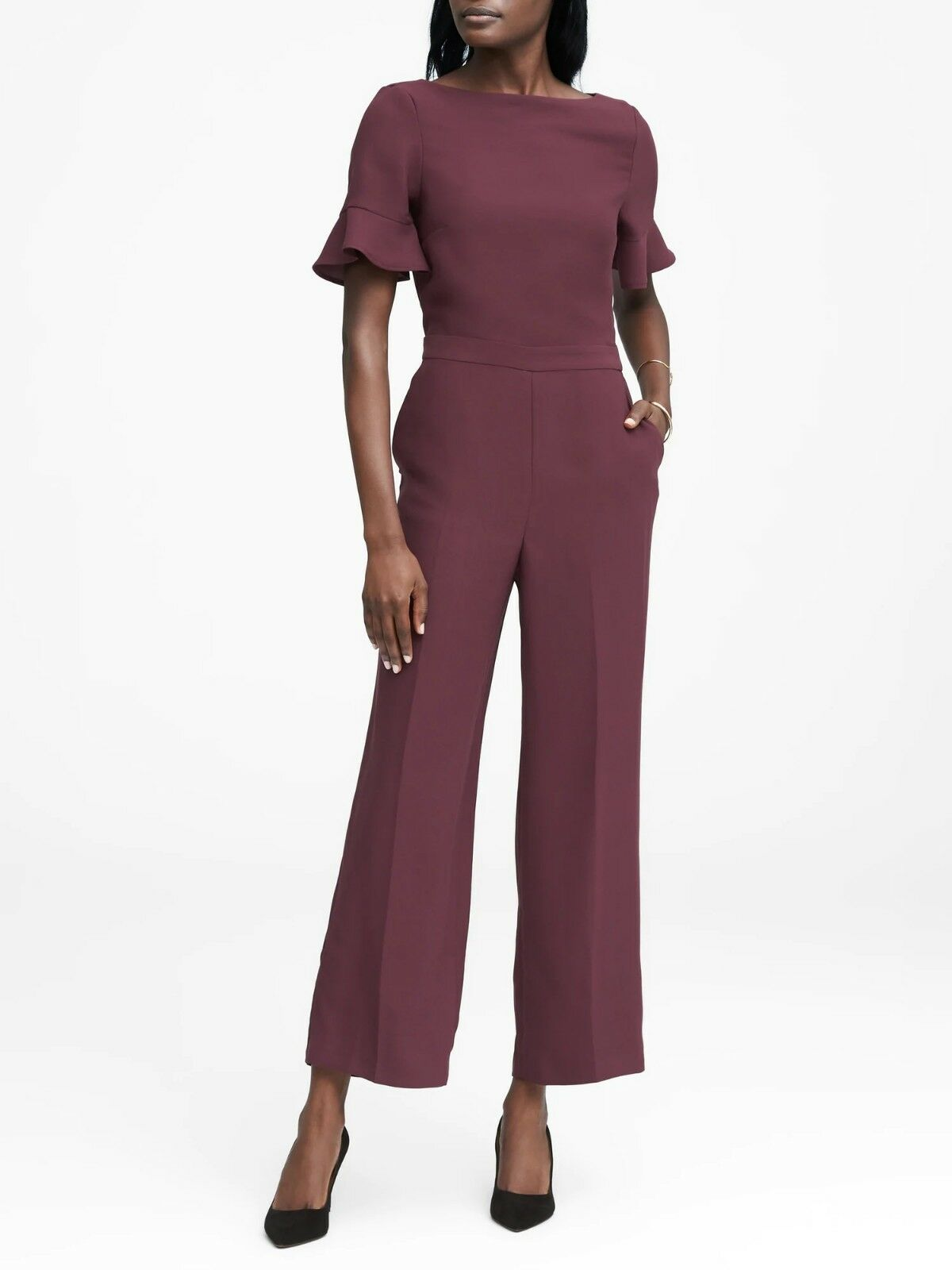 Banana Republic Flutter-Sleeve Cropped Jumpsuit,Burgundy Red SZ 4 N0313