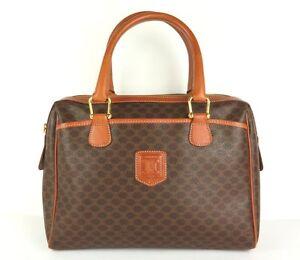 100% Authentic CELINE Macadam PVC Canvas Leather Hand Bag Brown Made ... 10c2dde2e3d69