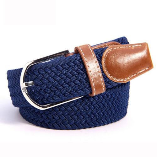 Unisex Waistbelt Stretch Braided Elastic Woven Canvas Buckle  Belt Multicolor