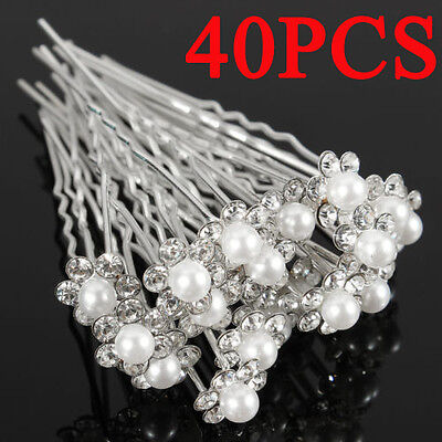 40x White Beautiful Party Bridal Crystal Rhinestone Pearl Flower Hair Pin Clips