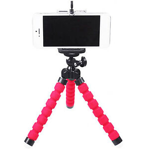Red-Tripod-Stand-Bubble-Sponge-Pod-Phone-Clip-for-GoPro-Camcorder-DSLR-New