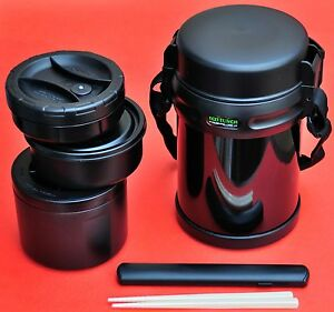 large big bento lunch box with 3 containers thermos keep. Black Bedroom Furniture Sets. Home Design Ideas