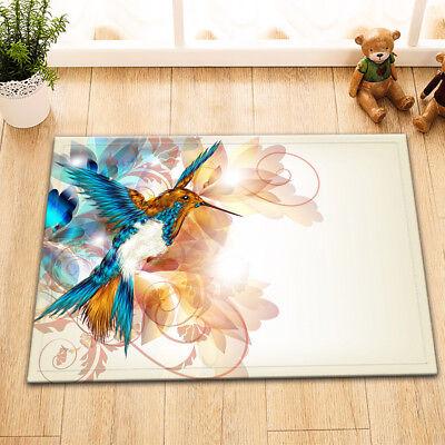 """15X23/"""" Hummingbird and Flowers Kitchen Floor Non-Slip Bath Door Mat Rug Carpet"""