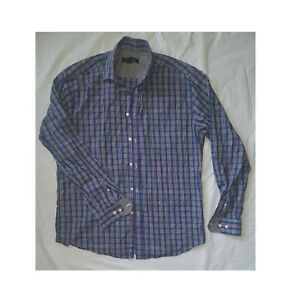 MENS-PRONTO-UOMO-BUTTON-UP-LONG-SLEEVE-DRESS-SHIRT-LARGE-red-white-blue-plaid
