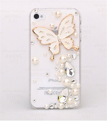 Butterfly Bling crystal phone case for iphone 6 5s samsung note3\4 s4 s5 s6 A7