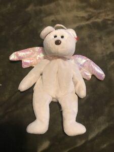Image is loading TY-HALO-Angel-Bear-Beanie-Baby-Rare-Brown- e37d9b702952