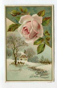 Victorian-Trade-Card-AB-CHASE-ORGAN-pink-rose-winter-scene
