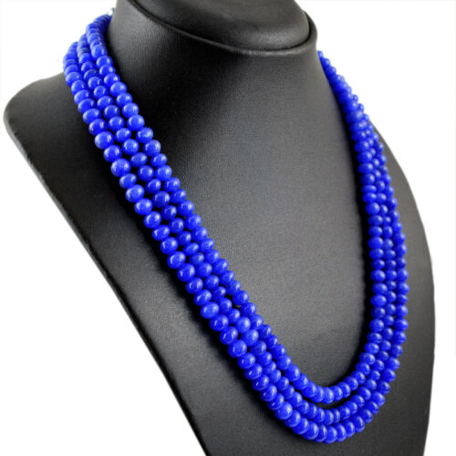 477.00 CTS EARTH MINED RICH BLUE SAPPHIRE 3 LINE ROUND SHAPED BEADS NECKLACE