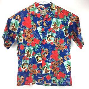 49491461 Hilo Hattie Hawaiian Aloha Shirt Blue Surf Girl Guitar Palm Hibiscus ...