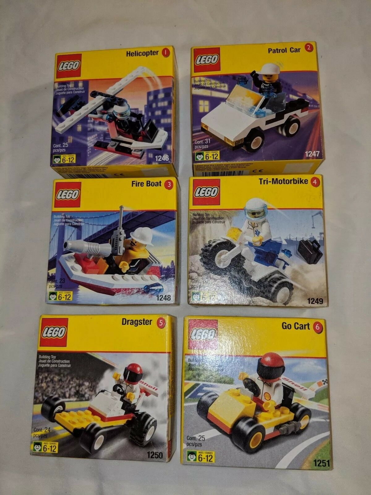 LEGO Lot 1246 Helpcopter 1247 Patrol 1248 Fire Boat 1249 1250 Dragster 1251 NEW