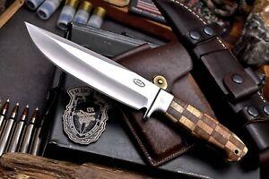 CFK Handmade AUS-8 Custom OLIVE WALNUT WOOD Large Camping Hunting Skinner Knife